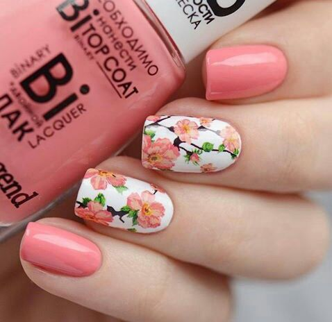 Floral Flowers Nail Art Nail Design Nails Pink Polish Flowers