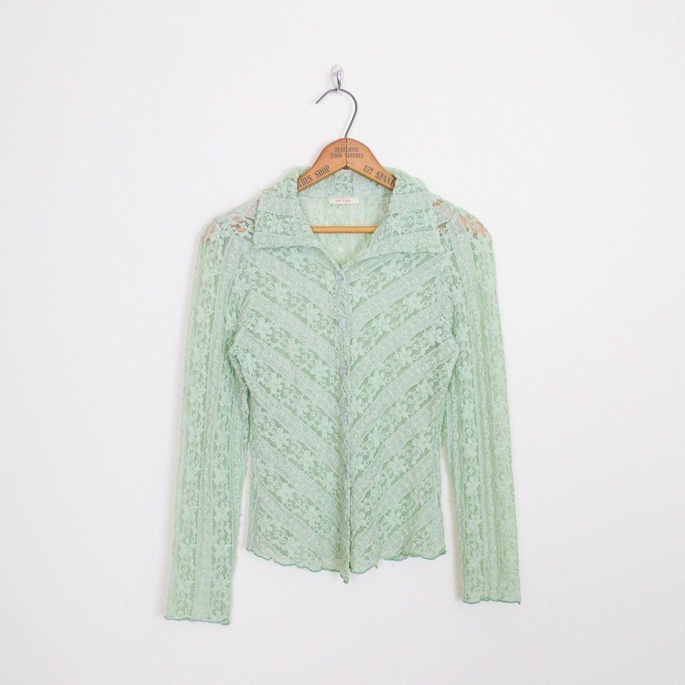 vintage mint up green shirt button