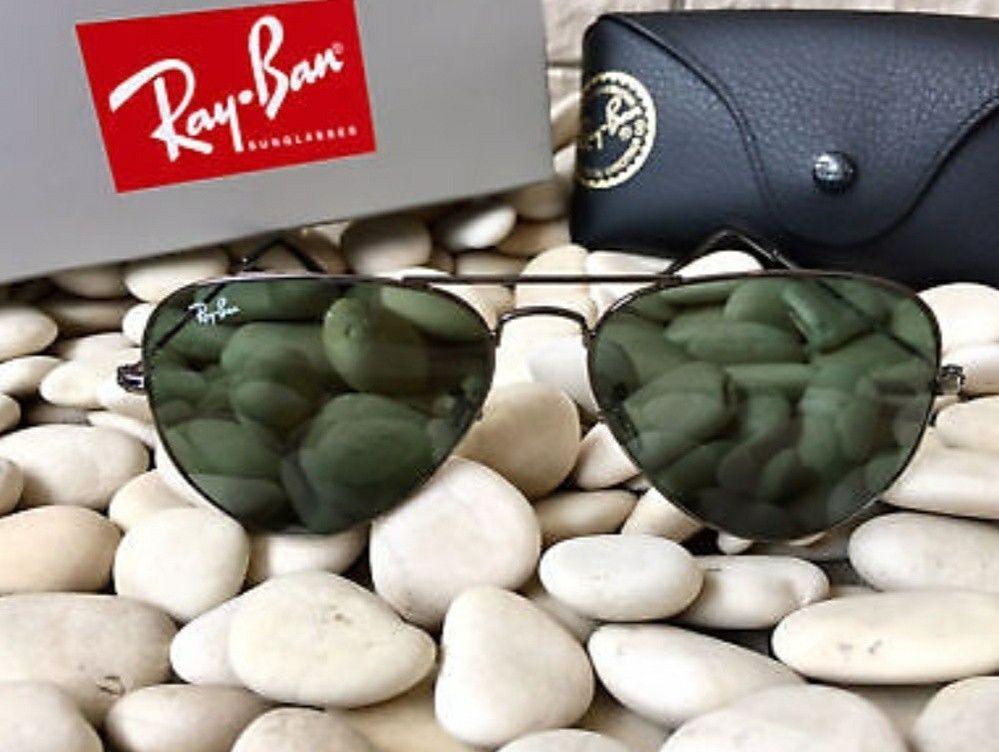 d03482a8bf1 Ray Ban RB3025 L2823 58mm Black Frame Green Aviator Classic G-15 Lens  Sunglasses
