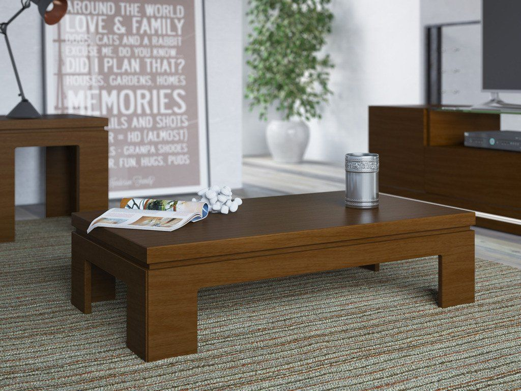 Bridge 2 Piece Accent Table Living Room Set In Nut Brown