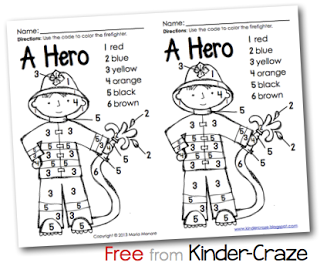 Kindergarten FREE color by number firefighter