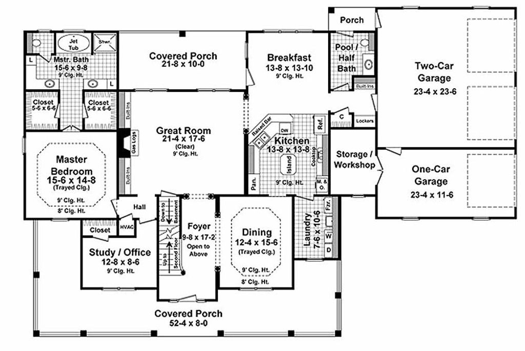 Country Style House Plan 4 Beds 3 5 Baths 3000 Sq Ft Plan 21 323 Country Style House Plans Country Farmhouse House Plans House Floor Plans