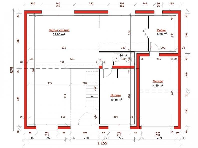 Plan rdc champ de mars 137 cette maison contemporaine for Chambre sans fenetre surface habitable