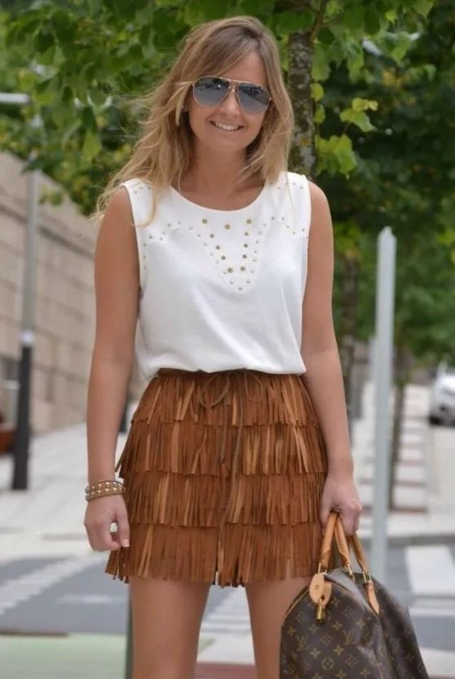 66b125443e Zara Brown Tan Real Pig Leather Suede Tassle Skirt Fringes Large L New    eBay