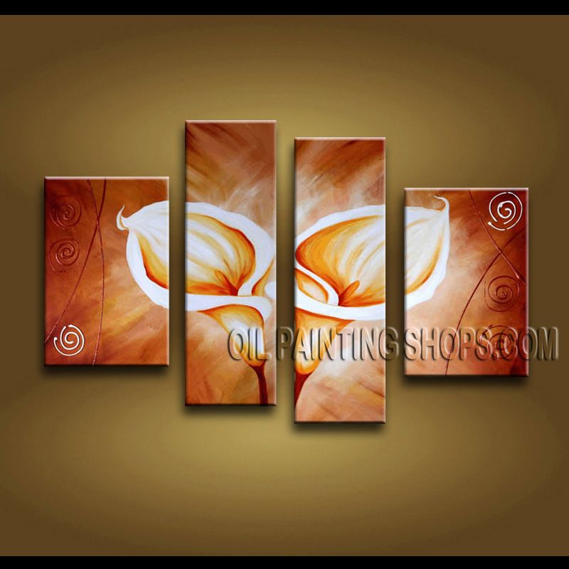 Huge Modern Abstract Painting Hand Painted Oil Painting Gallery Stretched Lily Flowers. This 4 panels canvas wall art is hand painted by Bo Yi Art Studio, instock - $138. To see more, visit OilPaintingShops.com