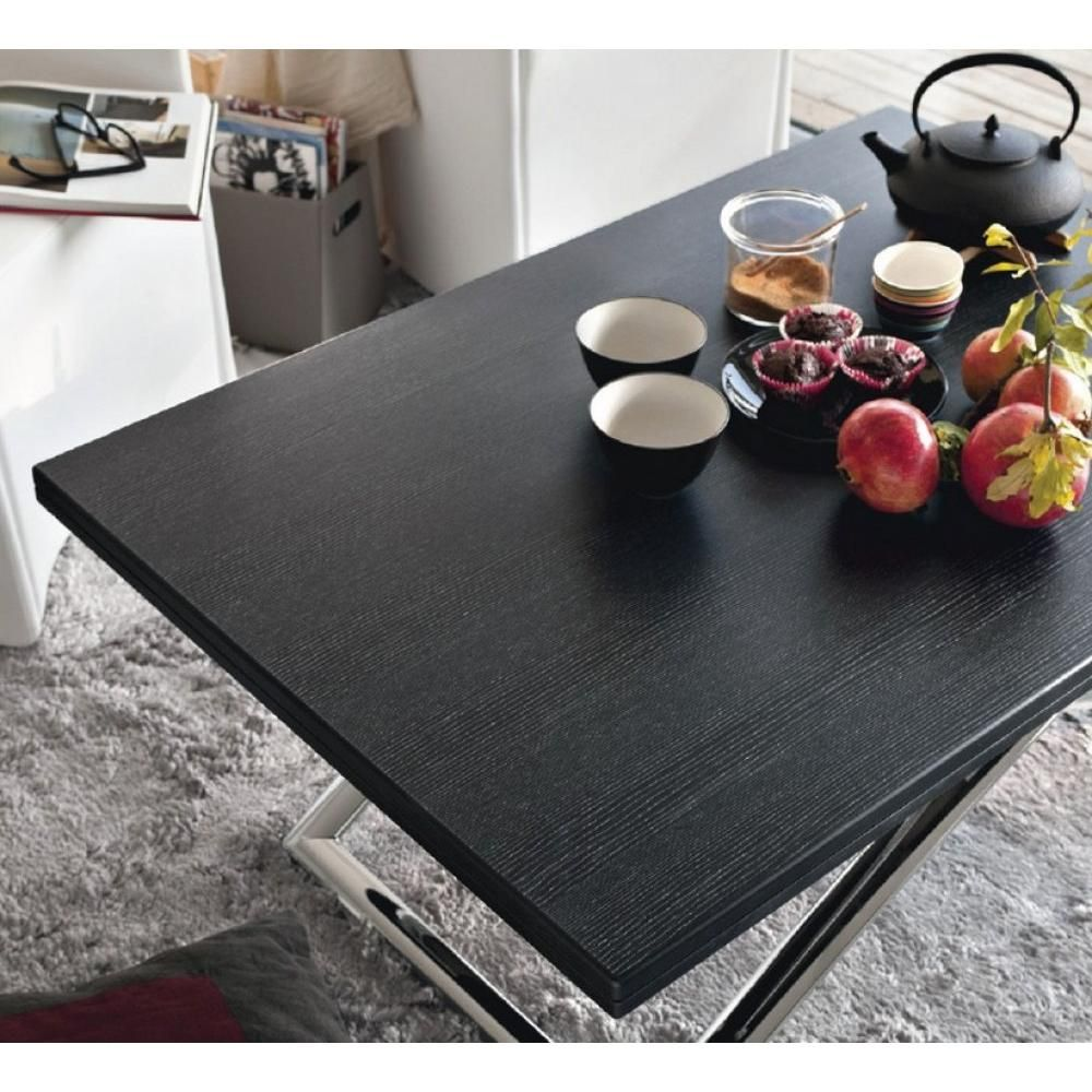 Table basse relevable extensible italienne MAGIC J graphite | Salons