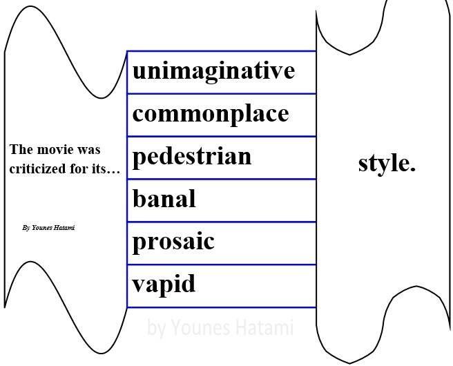 an unimaginative, commonplace, pedestrian, banal, prosaic, vapid style. |  Learn english, English words, English vocabulary