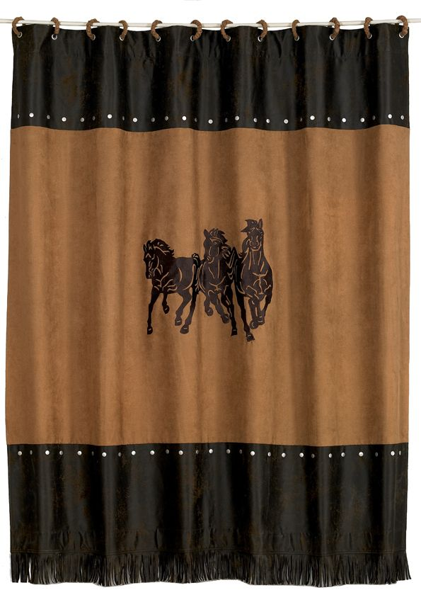 Three Horse Shower Curtain Cowhide Western Furniture Western Shower Curtain Curtains Shower Curtain