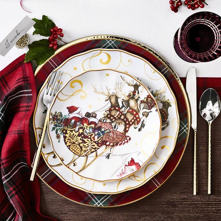 Tartan Dinner Plates Williams Sonoma Christmas Dinner Plates Christmas Dinnerware Sets Christmas Dinnerware