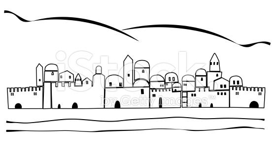 Jerusalem, Old City Silhouette and Mountains stock vector