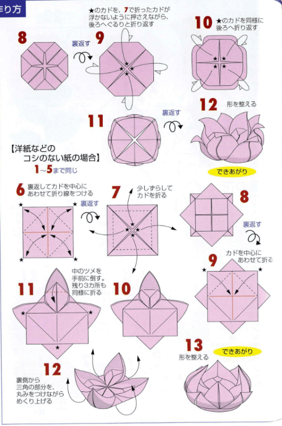 Origami Lotus Flower Tutorial Diagram Origami And Lotus