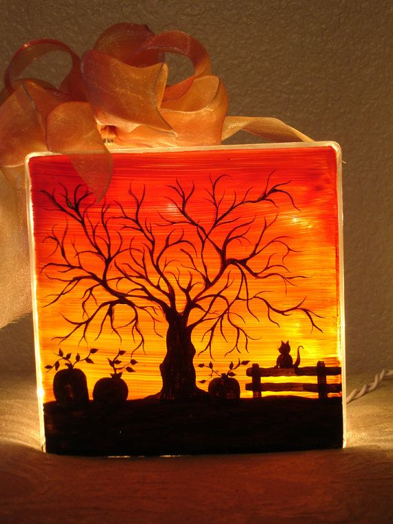 Halloween sunset two sided glass block by mysticfiredesign for Glass block crafts pictures
