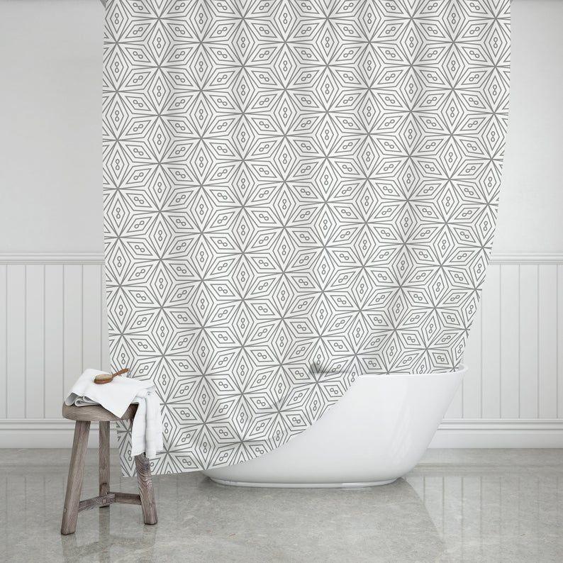 Modern Farmhouse Geometric Shower Curtain SC016 image 1
