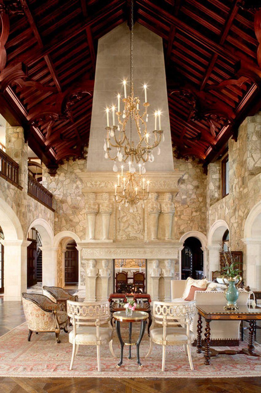 Beautiful stone for classic estate living room interior dream