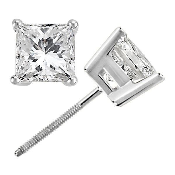 Allurez Princess Cut Diamond Stud Earrings