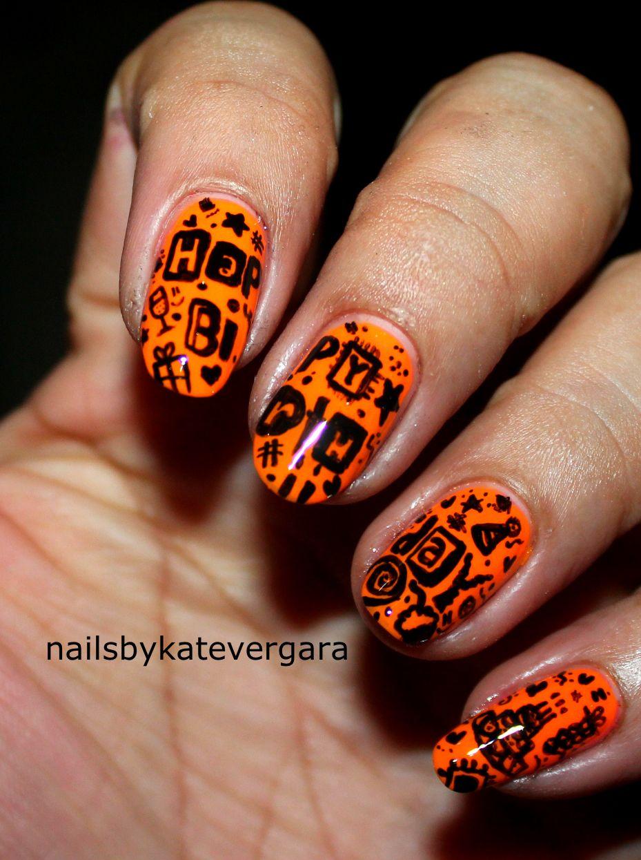 birthday nail art, doodle nail art   Nails By Kate Vergara ...