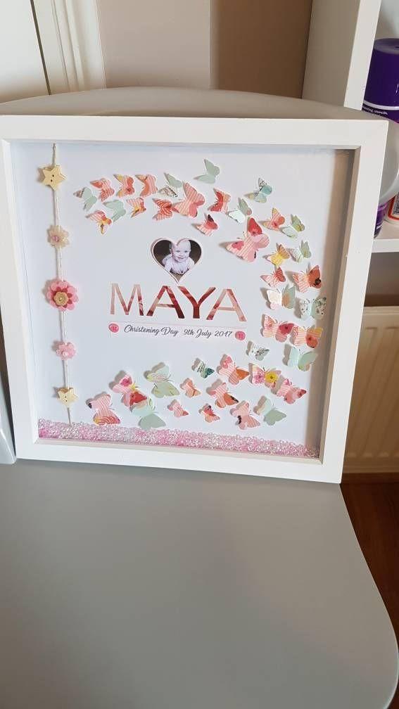 Baby girl box frame/name frame/christening/birthday/any   diaper ...