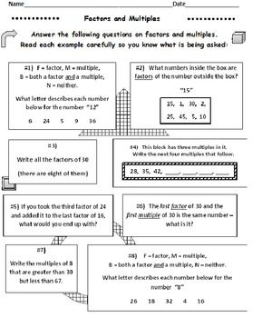 Factors And Multiples Worksheets Set Of 5 Factors And Multiples This Or That Questions Math Lessons