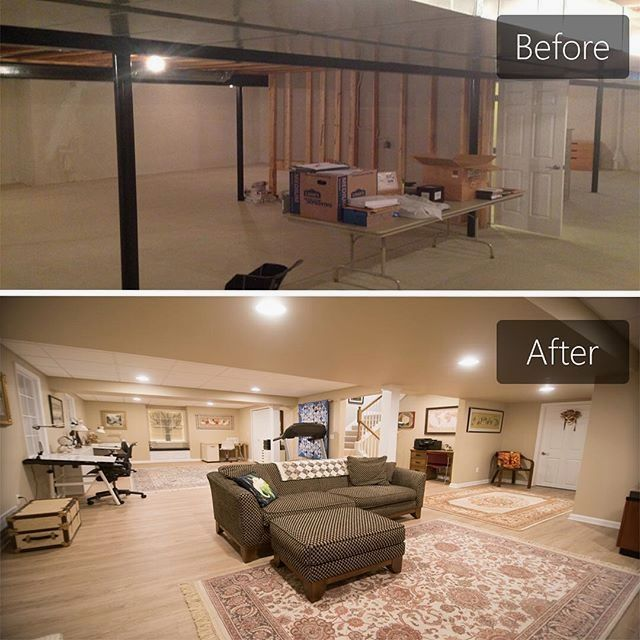 Before and After of a bright and open concept basement we finished