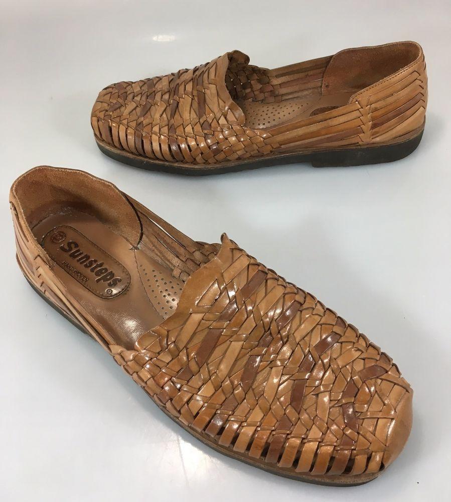 2498f74ea58f3 Sunsteps Mens 13 Brown Handwoven Leather Huarache Sandals Slip-Ons  Sunsteps   Huarache