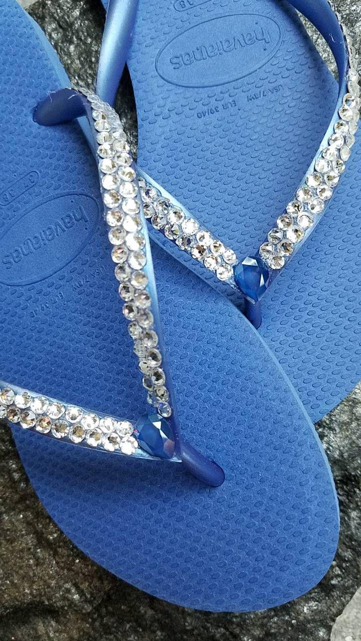 b93fd0aeb5ac8 Havaianas Bridal Swarovski Crystal Rhinestone Flip Flops- Size 7 8 US by  SatinSassy on Etsy