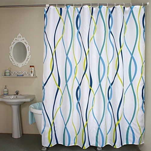 Welwo Shower Curtains Wave Vertical Stripe Fabric Curtain Liner Set Stripes Striped 48 X 72 Inches White Blue Yellow