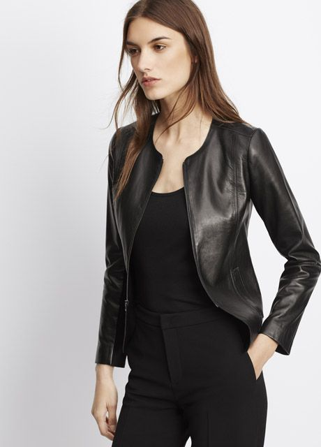 41333218e7 Tailored Collarless Leather Jacket | Vince | Wish List | Collarless ...