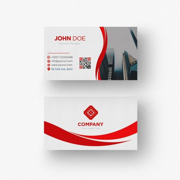 Red And White Business Card Free Psd Carte De Visite Graphisme Immobilier Rouge