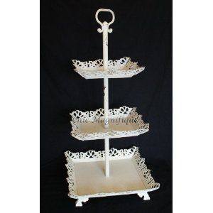 Use A Multi Tier Cake Dessert Tray As A Odds And Ends Storage Tray Great Idea For Either Make Up Hair Brushes Combs Hair Ti Metal Cake Stand Shabby Chic Shabby Chic Bedrooms