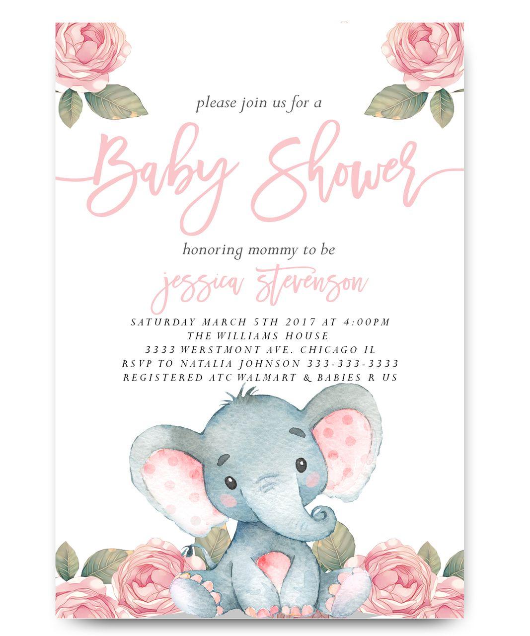 Elephant Baby Shower Invitation Pink Floral Elephant Baby