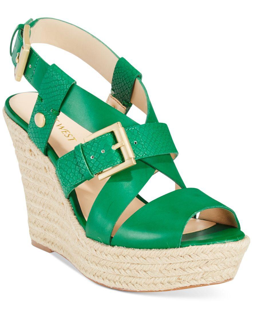 7ff1637c3ee Nine West Jentri Strappy Espadrille Platform Wedge Sandals ...