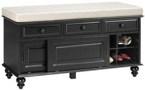 Richland Storage Bench With Sliding Door 23 Hx42 W Black Hall