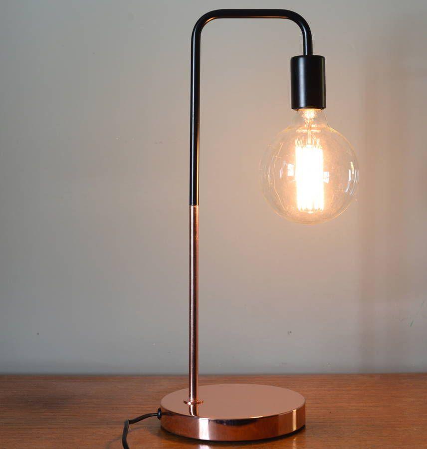 Black And Copper Slim Desk Lamp