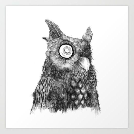 Owl Nr.5 illustration by Kriszti Balla #owl #sleepy #illustration #krisztiballa #ballpointpen #pen #nature