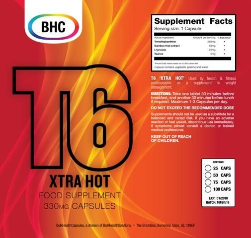 T6 Xtra Hot Food Supplements Bhc Weight Loss Fat Burning