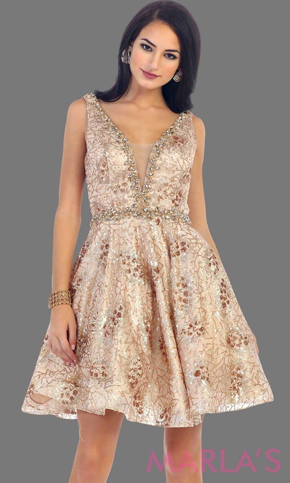 87d886cbf0 7438-Short champagne dress with deep V neck and back. This is a perfect