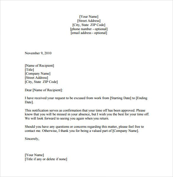 leave absence letter download free documents pdf word from office - leave of absence letter
