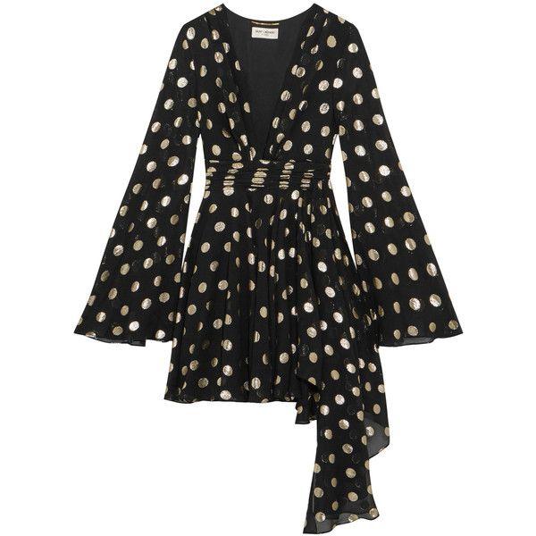 Saint LaurentAsymmetric Polka-dot Fil Coupé Silk-blend Georgette Wrap... (€5.620) ❤ liked on Polyvore featuring dresses, black, bell sleeve mini dress, polka dot dress, asymmetric wrap dress, polka dot wrap dress and bell sleeve dress