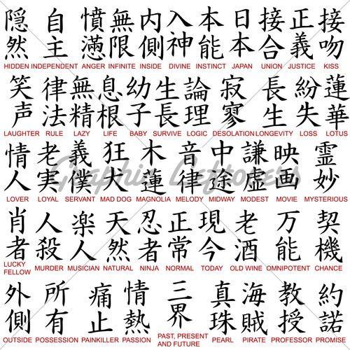 Japanese Kanji Tattoo Symbols And Meanings Chinese Symbols And