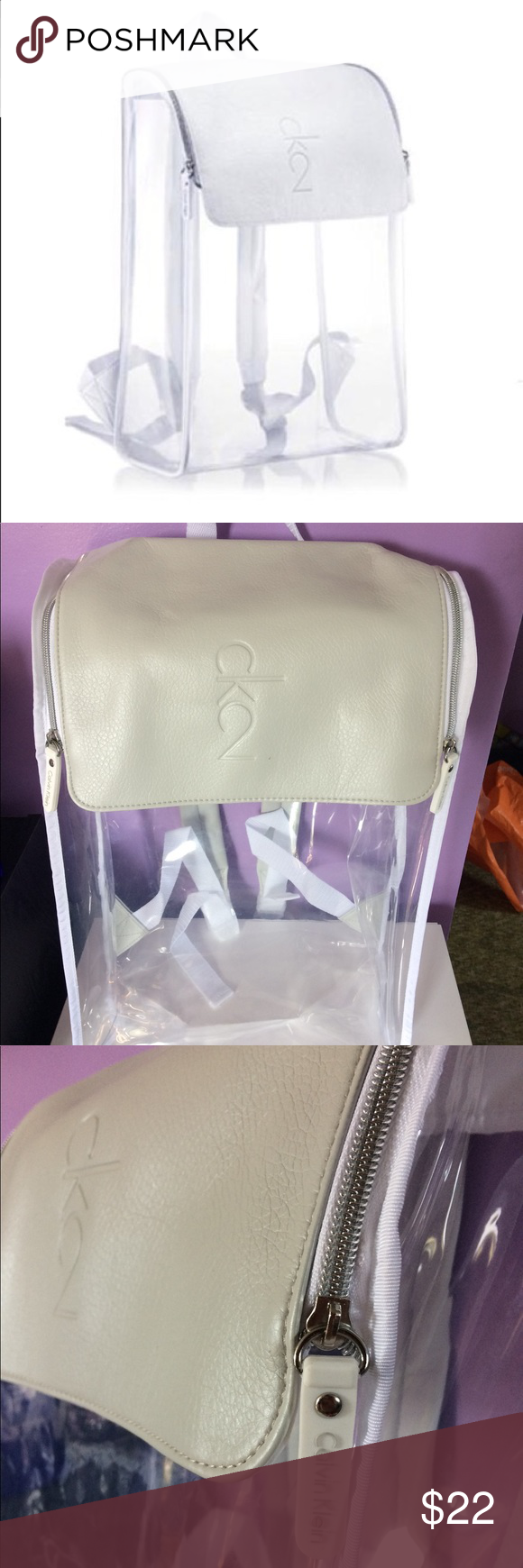 8aa07c082bb30f NWT Ck2 Clear Backpack Calvin Klein Beauty Clear & Faux Leather Backpack.  Brand new with tags! Calvin Klein Bags