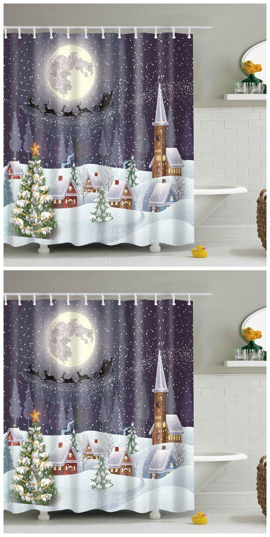 Christmas Fabric Waterproof Snowing Night Bath Shower Curtain