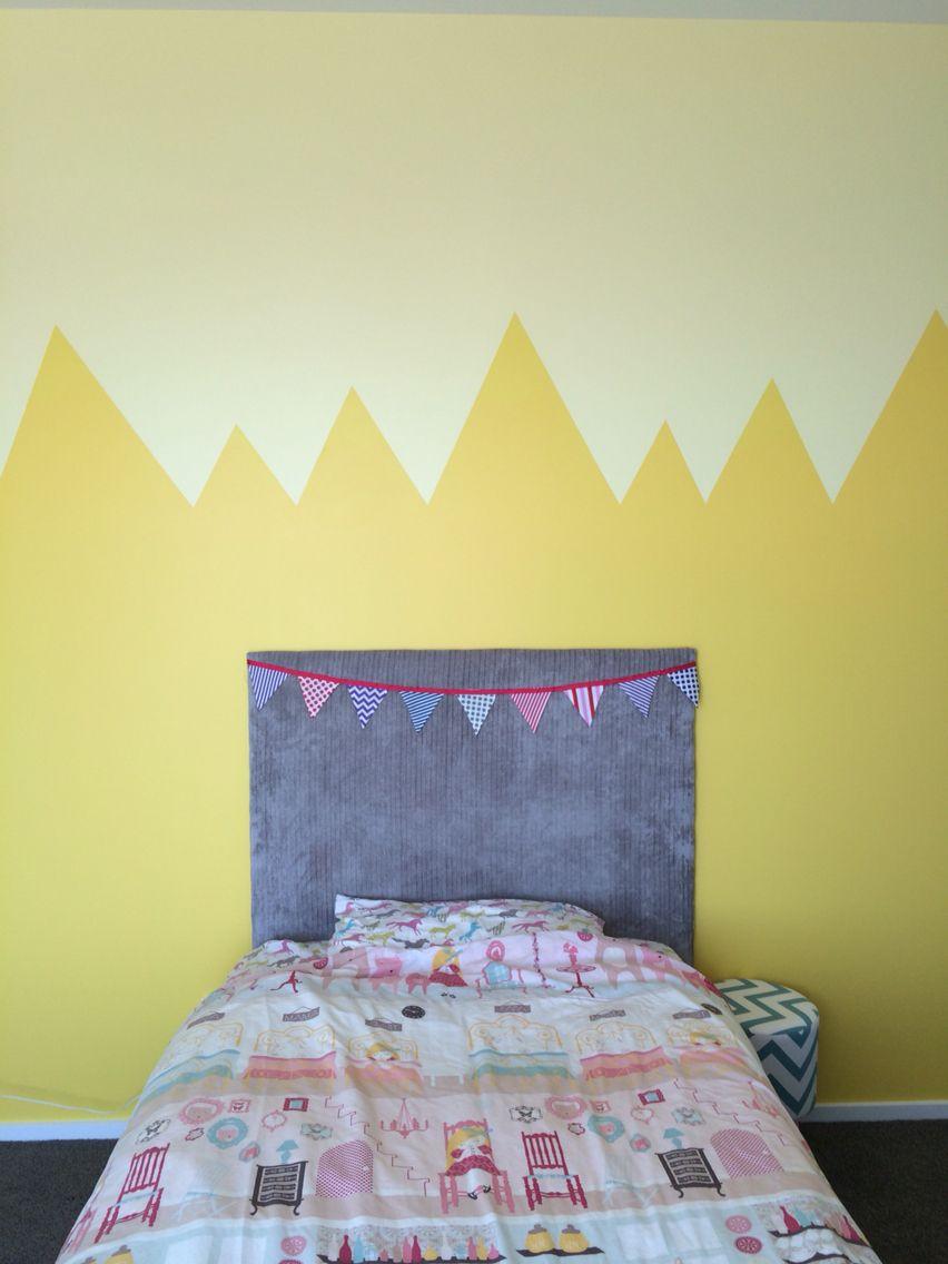 Zig zag mountain half wall paint design yellow girls room | Wall ...