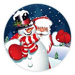 """Weihnachtsaufkleber rund """"Schneemann mit Weihnachtsmann"""""""