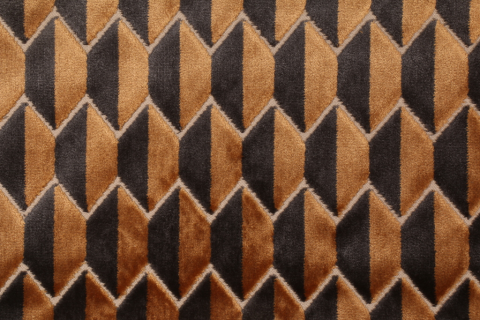 Robert Allen Alessio Geo BK Velvet Upholstery Fabric in Bronze $51.95 per yard #velvetupholsteryfabric