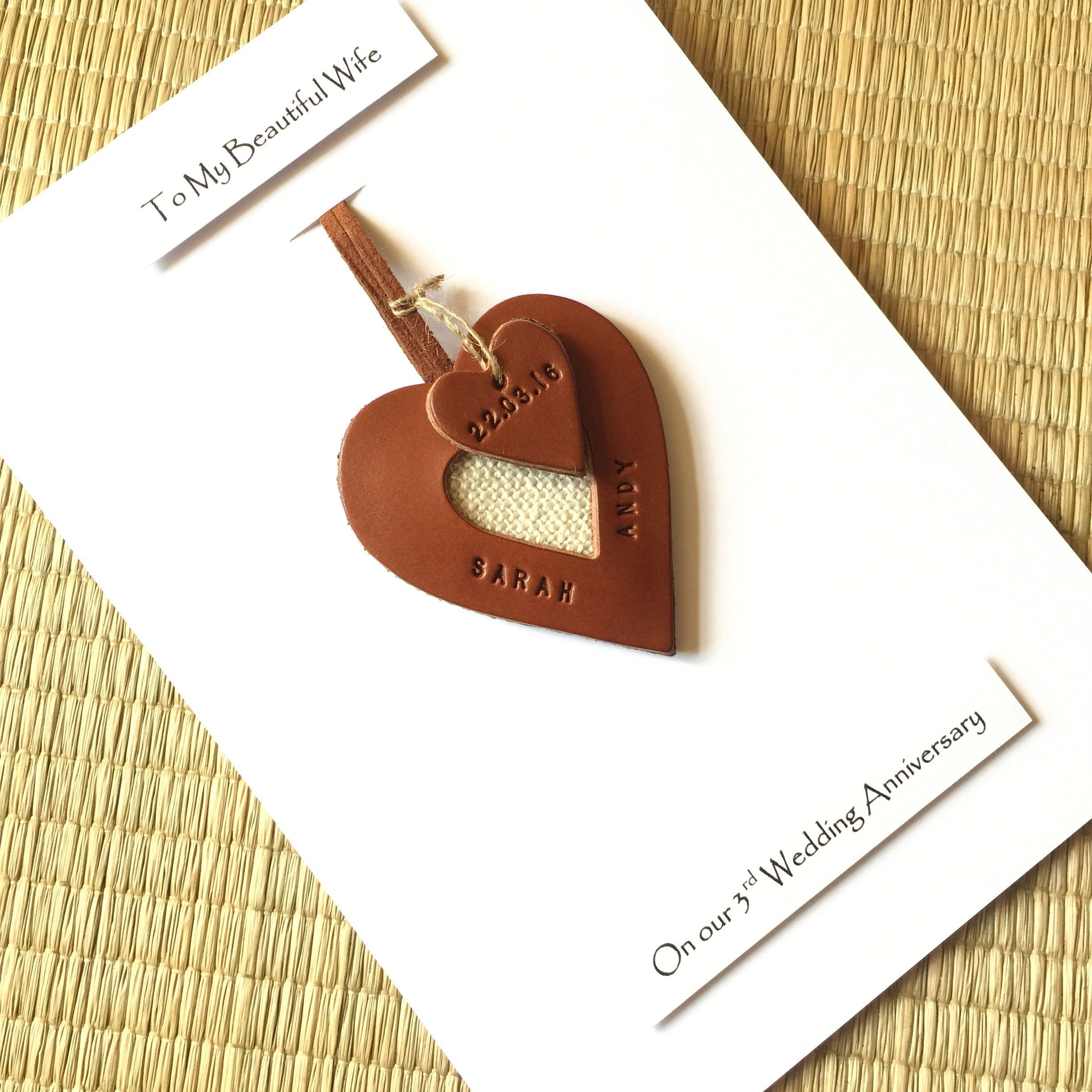 4th Wedding Anniversary Card Personalised Leather Heart