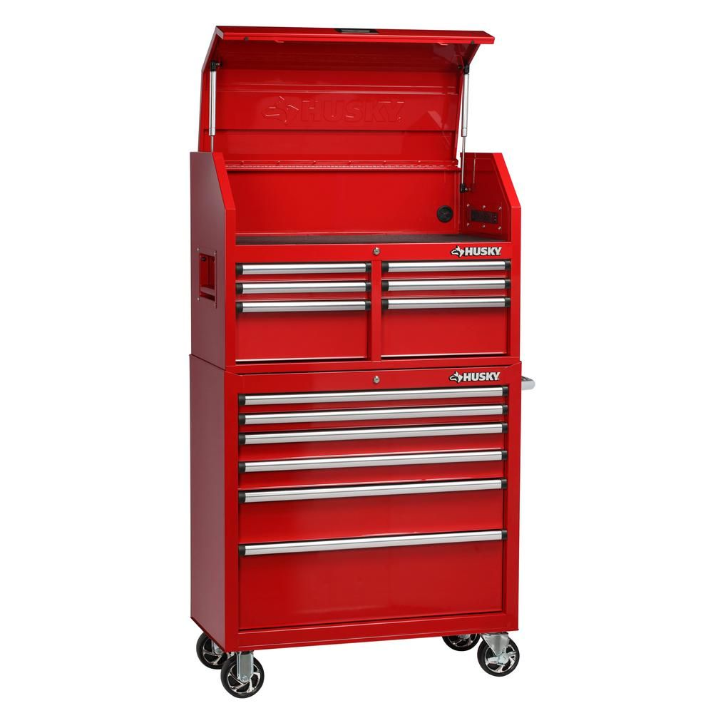 Husky 36 In 12 Drawer Tool Chest And Cabinet Combo In Red Red Powder Coat Tool Chest Tool Storage Husky Tool Box