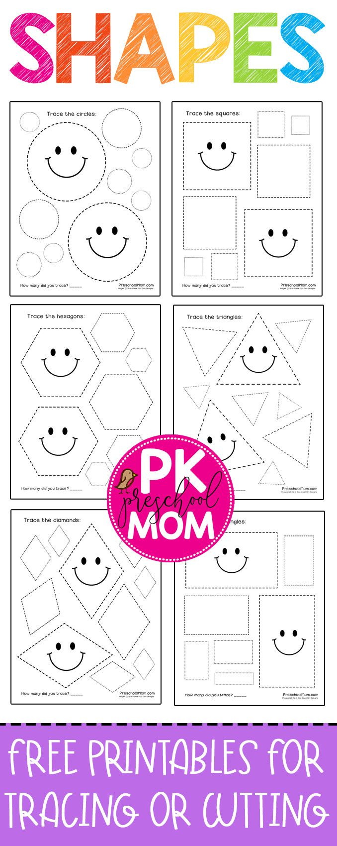 Free and Adorable Preschool Shape Tracing Worksheets