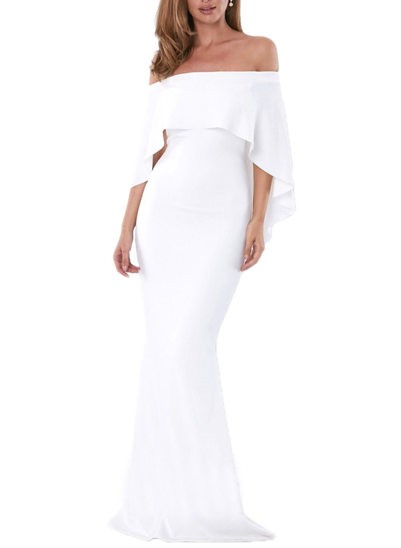 f7a0a24e06903 Maternity Styles - smart maternity dresses : AlvaQ Women Ladies Plus Size  Sexy Slash Neck Short Sleeve Evening Gown Wedding Mermaid Bodycon Maxi  Dresses ...