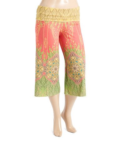 Look what I found on #zulily! Yellow & Pink Arabesque Gaucho Pants - Plus #zulilyfinds