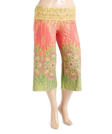 Look what I found on #zulily! Yellow & Pink Arabesque Gaucho Pants - Plus #zulilyfinds